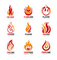 flame logo burning fire graphic symbols vector image