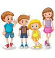 four happy kids standing on white background vector image vector image