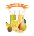 glasses with juice banana kiwi and lemon vector image vector image
