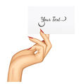 Hand with a card vector image vector image