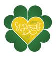 happy saint patricks day on four-leaf clover vector image vector image