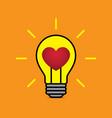 heart love light bulb flat design icon vector image vector image