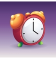 image of red alarm clock with yellow bells vector image
