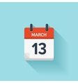 March 13 flat daily calendar icon Date vector image vector image