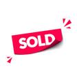 modern red sold sticker for webshop vector image