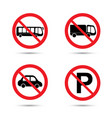 no parking sing for car bus truck vector image vector image