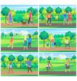 people leisure in park between trees park vector image vector image