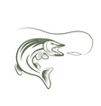 pike and lure design template vector image vector image