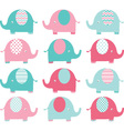 Pink ang Aqua Cute Elephant set vector image
