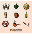 Pub beer handdrawn icons set with - Glass mug vector image vector image