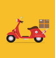 red logistics and delivery scooter vintage style vector image