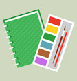 school stationery supplies notebook and paint vector image vector image