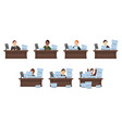 set of different nationalities workload workers in vector image