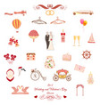 set of wedding and valentines day elements vector image vector image