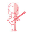 shadow women guitar cartoon vector image vector image