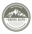 Snowbound Swiss Alps emblem - Switzerland stamp vector image vector image