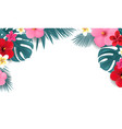 summer tropical border white background vector image vector image