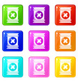 toxic waste container icons set 9 color collection vector image vector image