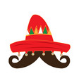 traditional mexican hat and a mustache vector image