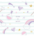 unicorn magic seamless pattern background with vector image vector image