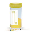 urine test strip with the plastic jar of urine vector image vector image