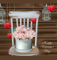 vintage card with rose flower bouquet on a wood vector image