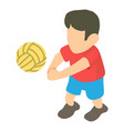 volleyball player icon isometric 3d style vector image
