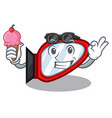 with ice cream side mirror in the cartoon shape vector image