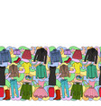 woman clothes colorful seamless border vector image