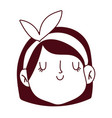 young girl female cartoon face cartoon isolated vector image vector image