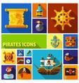Pirates Flat Cartoon Icons vector image