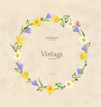 vintage card with round frame of spring flowers vector image