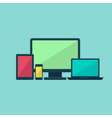 Colorful flat technology devices set over blue vector image