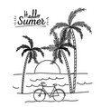 monochrome poster of hello summer with landscape vector image