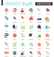 set of flat seafood icons vector image