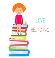 Child and books - love to read concept vector image