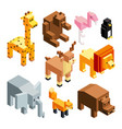 3d toy animals isometric pictures isolate vector image