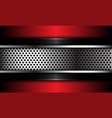 abstract silver circle mesh on black red metallic vector image vector image