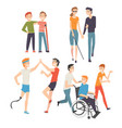 active disabled people training walking and vector image