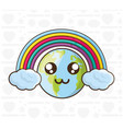 adorable earth and colorful rainbow vector image