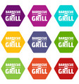 barbecue grill icons set 9 vector image vector image