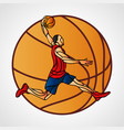 basketball player slam dunk color vector image