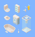 bathroom isometric set controlled shower washing vector image