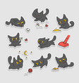 black kittens stickers small cat different vector image