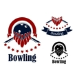 Bowling badges with lanes balls and ninepins vector image vector image