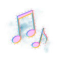 bright colorful music note icon sound media vector image