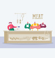 butchery store keeper stand at local meat product vector image
