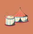 carnival circus tent and musical drum retro vector image