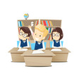 children sit at their desks at school vector image