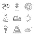 chocolate tasty food icons set outline style vector image